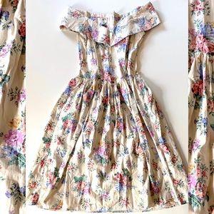 Vintage 50's Off the Shoulder Floral Midi Dress S